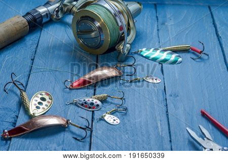 Fishing Set For Fishing Pike, Bass, Perch. Tools For Fishing. Set Of Fisherman. Front View.