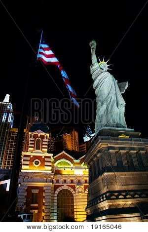 LAS VEGAS- MAY 1: A replica of the Statue of Liberty lays outside the New York New York Casino on May 1, 2007 in Las Vegas. The original Statue of Liberty was presented to the USA by France in 1886.