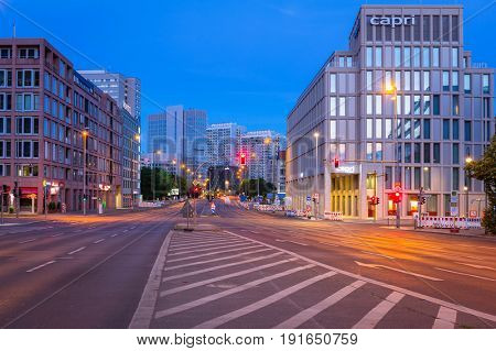 BERLIN, GERMANY - JUNE 15, 2017: Architecture of city center in Berlin at night, Germany. Berlin is the capital and the largest city of Germany with a population of approximately 3.7 million people.