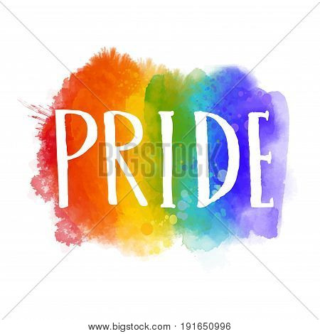 Pride - word on spectrum flag of gay parade. Bright artistic rainbow with hand drawn letters.