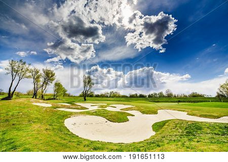 Sand Bunkers On The Golf Course