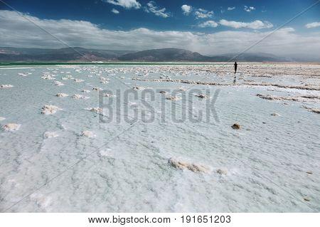 View of Dead Sea coastline, Israel.