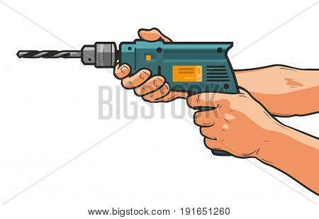 Drill in hand. Building, repair, construction tool concept. Cartoon vector illustration isolated on white background