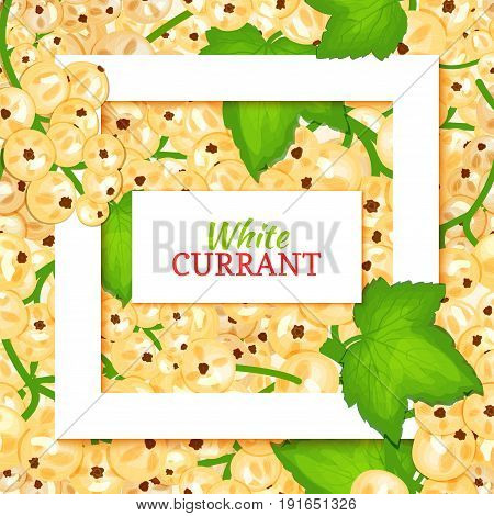 Square white frame and rectangle label on berry background. Vector card illustration. White currant fruit and leaves for packaging design food, juice, jam, ice cream, smoothies, detox, cosmetics