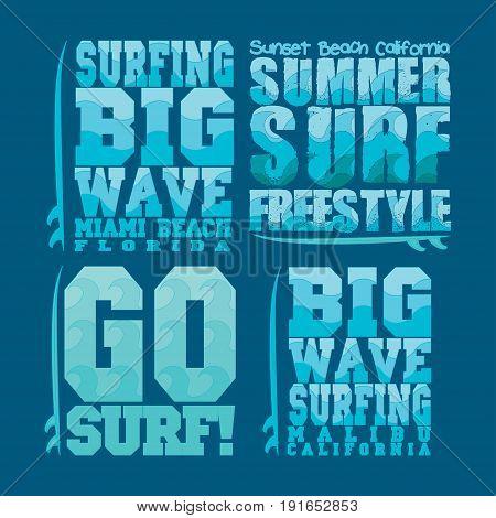 set summer surfing typography surfing t-shirts sport