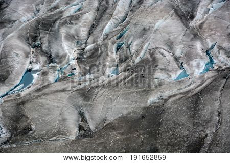 Several crevices on the Aletschgletscher in Switzlerand filled with water
