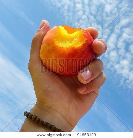Eating a peach on the beach.Holding peach in hand. A snack on the beach.
