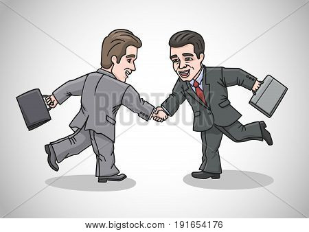 Businessmen quickly met, shake hands and smile.