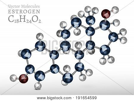 Estrogen molecule structure in 3D style. Vector illustration in metallic blue and silver colours. C18H24O2 image on a light grey background. Scientific, educational and popular-scientific concept.