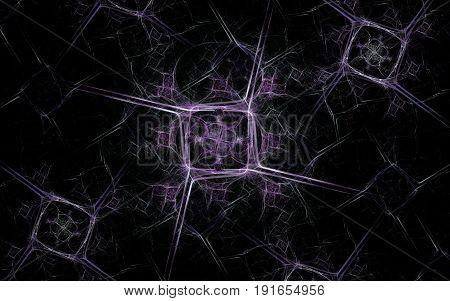 An abstract image of geometric figures in the form of squares with spiny faces, a lilac pattern around in a quantity of three pieces on a black background