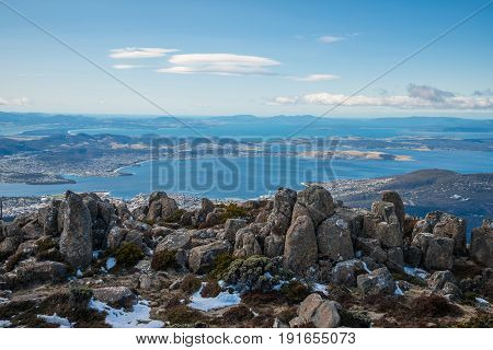 The Pinnacles rock on the summit of mount Wellington in Hobart the capital city of Tasmania state of Australia.