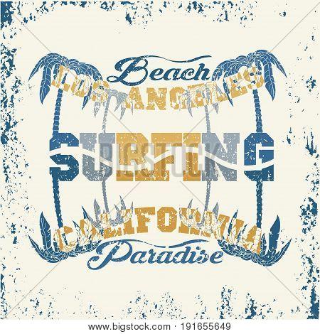 t-shirts surf rider LA Beach california surfing grunge  texture T-shirt inscription typography graphic design emblem