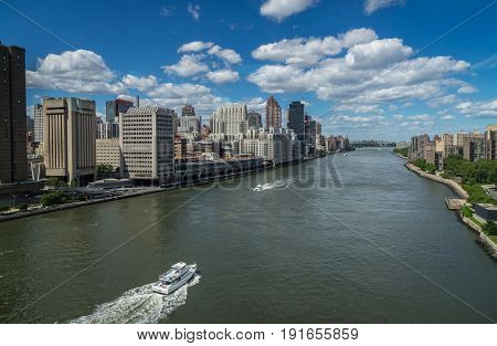 New York NY USA - June 3 2017. View of The East River And Manhattan From The Tram heading to Roosevelt Island