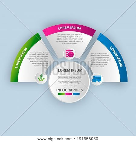 Vector Illustration. Infographics In The Form Of A Circle And 3 Segments. Template For Graphs, Prese