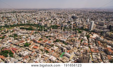Aerial view of southern part of Nicosia city