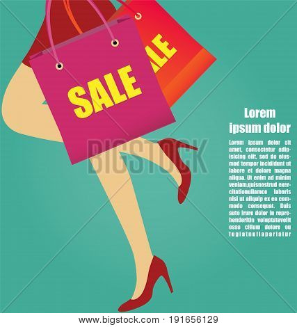 Sexy Women Legs With High Heels Running With Shopping bags Business Concept