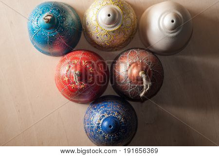 Decorative Bells On Wooden Background, Top View,