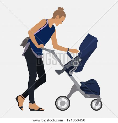 Girl with a stroller walks with the child mom and baby flat style image