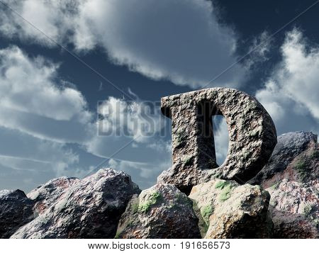letter d rock under blue sky - 3d illustration