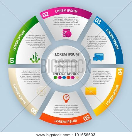 Vector Illustration. Infographics In The Form Of A Circle And 6 Segments. Template For Graphs, Prese