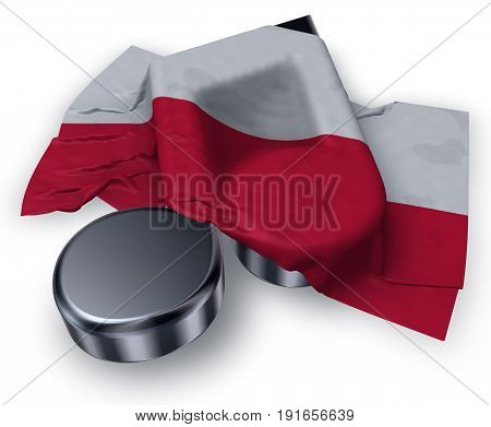 music note and polish flag - 3d rendering