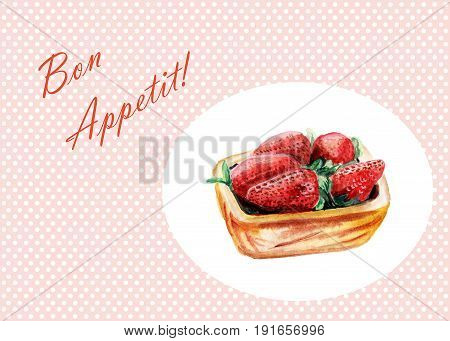 Watercolor strawberry in a wood bowl isolated on white background - Bon Appetit