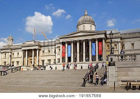 LONDON, ENGLAND - May 25,2017: facade of National Gallery of London at Trafalgar Square, City of Westminster, Central London, UK