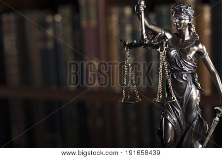 Law theme. Court library. Statue of justice. Themis.