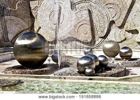 Sofia, Bulgaria - April 10, 2017: Metal balls in the subway of the National Palace of Culture