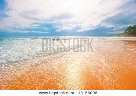 Dreamy white sand tropical beach. Phuket island. Andaman sea. Kingdom Thailand poster