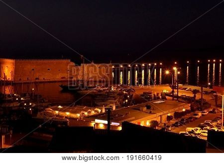 The Koules fortress and the old port of Heraklion at night, Crete island, Greece