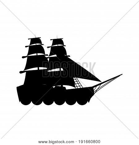 silhouette ship vessel boat nautical vector illustration