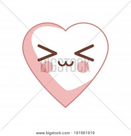 kawaii heart health care cardiology vector illustration