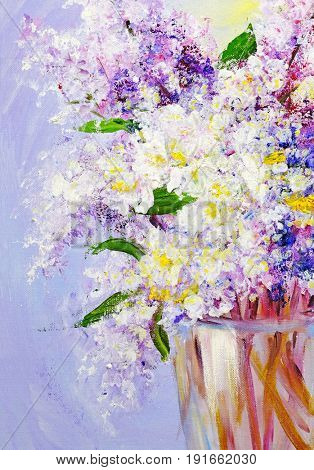 Bouquet of gentle lilac, oil paintings on canvas
