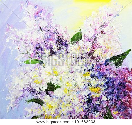 Bouquet of lilac, oil paintings on canvas