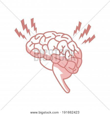 Abstract human brain injury stroke cartoon vector illustration with red dot waves, concept of medical logo, brain illness symbol, disease scan, cancer flat design isolated on  background