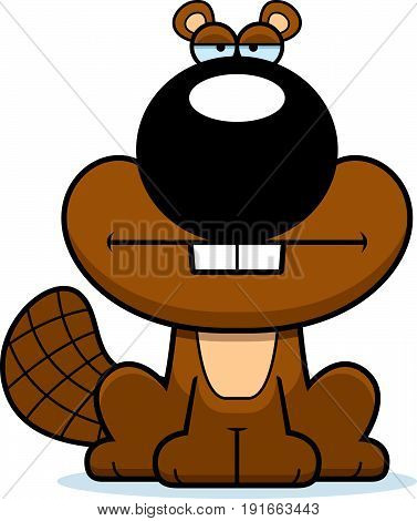 Cartoon Beaver Bored