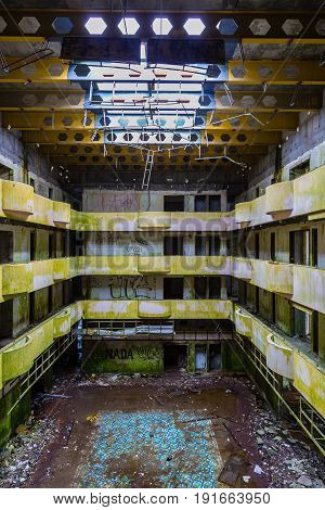 Sao Miguel, Azores - May 10, 2017: Ruin Abandoned Hotel On The Island Of Sao Miguel