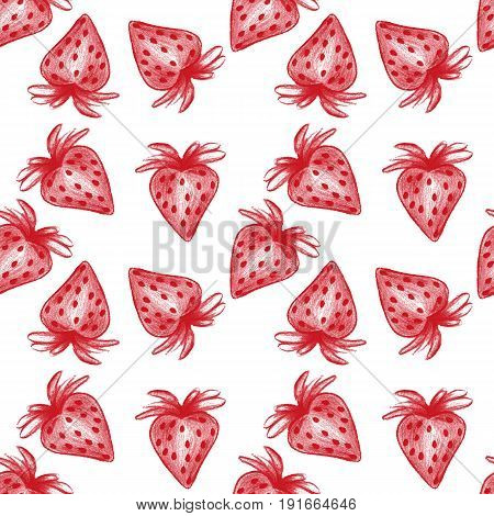 Hand drawn red strawberry.Pencil style.Seamless texture.White background.
