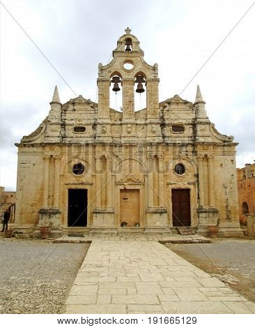 The Impressive Church of Arkadi Monastery in Rethymno, Crete Island, Greece