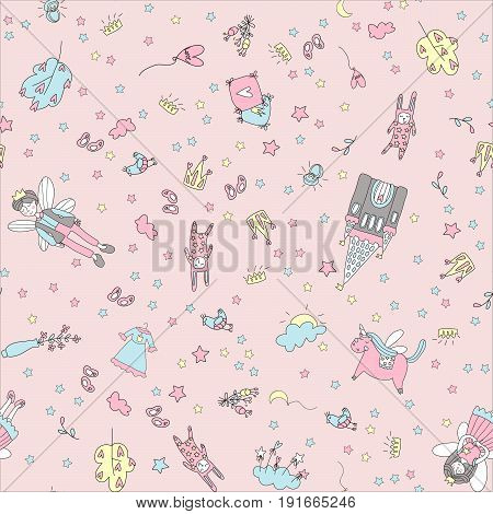 Fairy tale pattern with winged characters, the castle, unicorn. Doodle vector illustration in simple childish style.