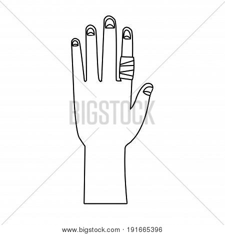 hand with finger gauze bandage icon vector illustration