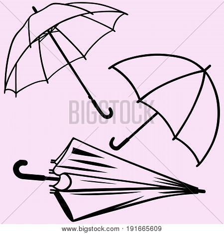 set of umbrella vector silhouette isolated on background