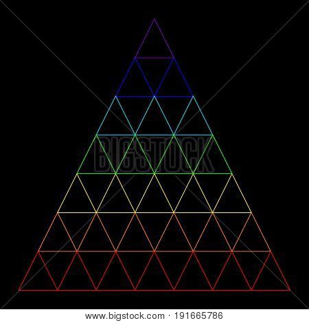 Rainbow triangle consisting of many small triangles composed of a rainbow color isolated on a black background. Vector multicolor triangle