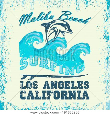 Surfing Los Angeles California surfing water sports T-shirt inscription typography graphic design emblem