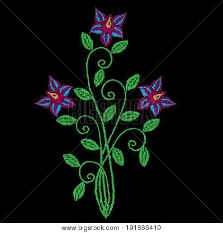 Embroidery stitches imitation folk flower with green leaf. Fashion embroidery flower on black background. Embroidery flower vector.