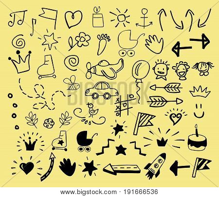 Hand drawn icons for children. Kids logo. Doodle