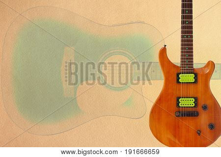 Electric guitar with green pickups and acoustic jumbo guitar on the creamy cardboard background with plenty of copy space.