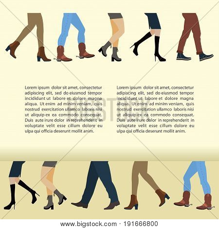 Legs of people, group is walking in shoes. Flat design men and women feet with stylish colorful clothes and footwear on white background. Place for text. Vector illustration