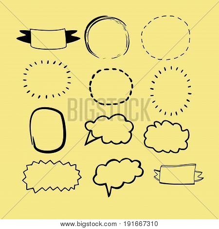 Hand-drawn frames and banners for text. Baby labels